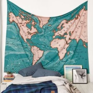 World Map Ocean Tapestry from Urban Outfitters